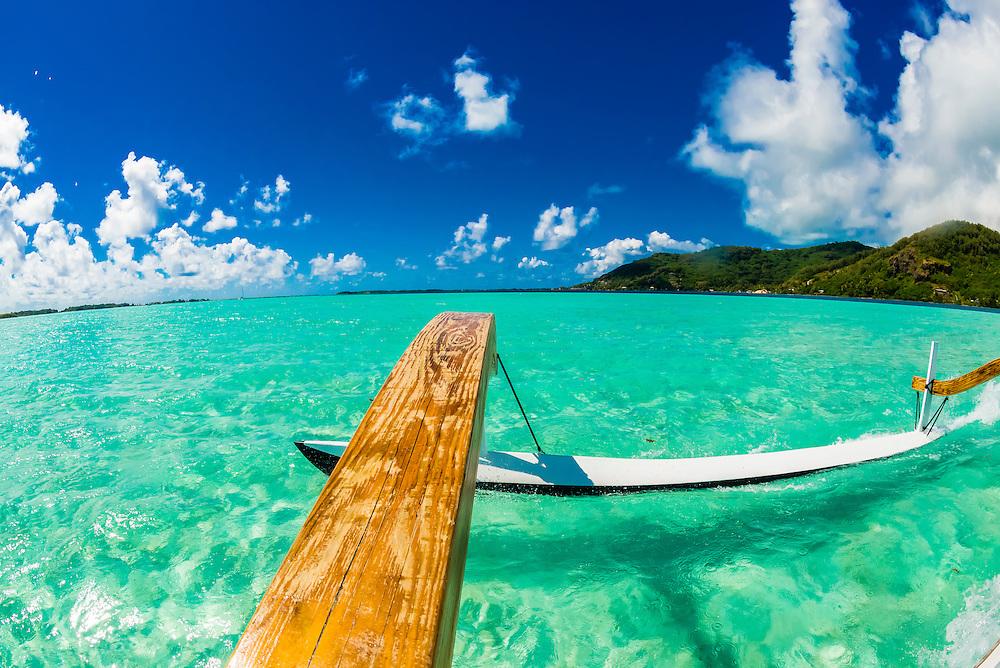 Outrigger tour boat, Bora Bora, French Polynesia.