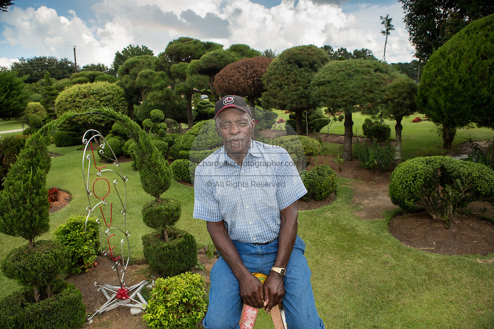Pearl Fryar Topiary Garden August 21, 2013 in Bishopville, South Carolina. Pearl Fryar without any horticultural experience turned discarded plants into an amazing topiary wonderland in his former corn field in a tiny village in rural South Carolina.