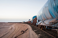 Ken MacDonald train hopping in Mauritania, Africa