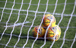 General view of the official match balls before the Scottish Premiership match at Dens Park, Dundee.