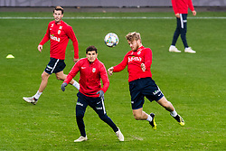 October 15, 2018 - Oslo, Norway - Norwegian National Team members HAVARD NORDTVEIT, TARIK ELOUNOUSSI and FREDRIK MIDTSJO in action during a training session at the team's facility in Oslo. (Credit Image: © Jon Olav Nesvold/Bildbyran via ZUMA Press)