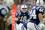INDIANAPOLIS - NOVEMBER 8:  Peyton Manning #18 of the Indianapolis Colts calls a play at the line of scrimmage against the Minnesota Vikings on November 8, 2004 at the RCA Dome in Indianapolis, Indiana. The Colts defeated the Vikings 31-28. (Photo by Joe Robbins) *** Local Caption *** Peyton Manning