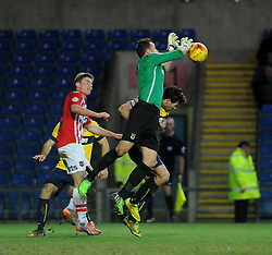 Oxford United's Ryan Clarke saves from Exeter City's David Wheeler - Photo mandatory by-line: Neil Brookman/JMP - Mobile: 07966 386802 - 24/01/2015 - SPORT - Football - Oxford - Kassam Stadium - Oxford United v Exeter City - Sky Bet League Two