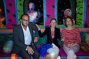 ENRICO BRUNI; FABBRATIAN MORES; LEOPOLDINA PALLOTTA DELLA TORRE, Gazelli host The Colbert Art Party last night at  LouLou's, The Bauer in Venice, Venice Biennale, Venice. 7 May 2015