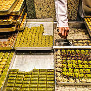 Trays of various kinds of baklava and other sweets in Istanbul, Turkey