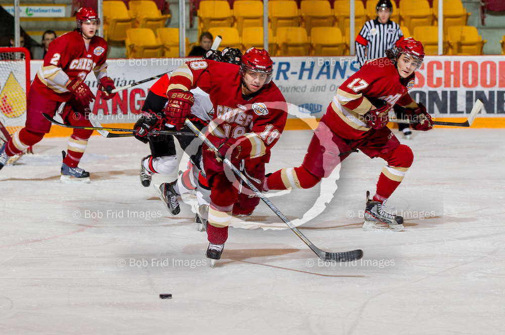 01 March 2014:   Kyle Westeringh (18) of the Chiefs, Ben Butcher (17) of the Chiefs during a game between the Chilliwack Chiefs and the Coquitlam Express at Prospera Centre, Chilliwack, BC.    ****(Photo by Bob Frid - All Rights Reserved 2014): mobile: 778-834-2455 : email: bob.frid@shaw.ca ****