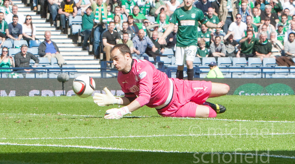 Falkirk's keeper Jamie MacDonald saves from the post. <br /> half time : Hibernian 0 v 0  Falkirk, William Hill Scottish Cup semi-final, played 18/4/2015 at Hamden Park, Glasgow.