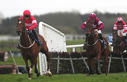Saglawy ridden by Paul Townend (left) races clear of the last on the way to winning the BoyleSports Juvenile Hurdle during The Easter Tuesday Meeting at Fairyhouse, Ratoath.