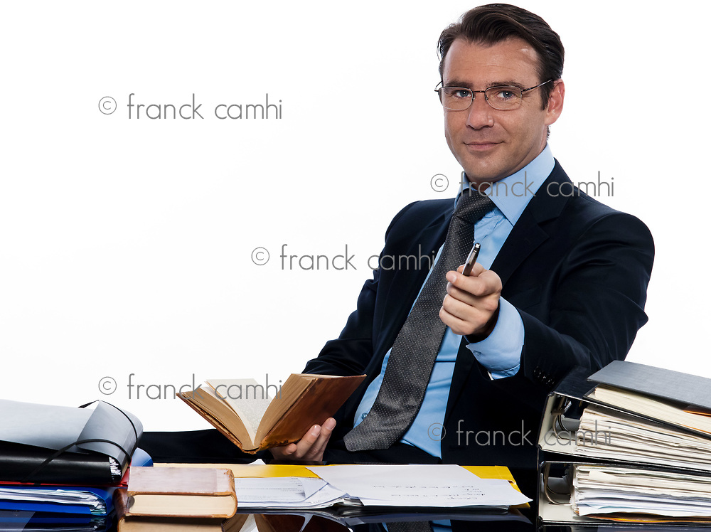 one man caucasian business man professor teacher  beckoning pointing camera sitting busy isolated studio on white background