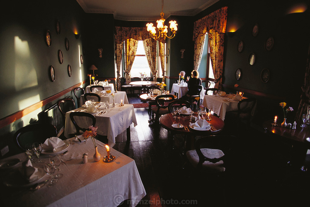 Two diners sit in the formal dining room of the Lough Inagh Lodge, West Ireland (Connemara).