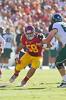 01 September 2012: Defensive end (58) J.R. Tavai of the USC Trojans against the Hawaii Warriors during the first half of USC's  49-10 victory over Hawaii at the Los Angeles Memorial Coliseum in Los Angeles, CA.