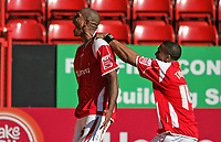 Photo: Lee Earle.<br /> Charlton Athletic v Sheffield Wednesday. Coca Cola Championship. 25/08/2007.Charlton's Chris Iwelumo (L) celebrates after scoring their second goal.