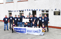 Members of Ballyhaunis RFC teamed up with Ulster Bank making the most of their RugbyForce weekend. The east Mayo Rugby Club were the provincial winners of a support package of ?5000 which will be used to improve the club's facilities. Pictured are club players and members  recieving the cheque from John Dempsey and Ray Walsh from Ulster Bank during their RugbyForce weekend...Pic Conor McKeown
