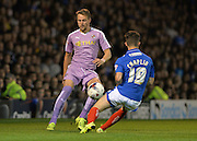 Chris Gunter and Conor Chaplin during the Capital One Cup match between Portsmouth and Reading at Fratton Park, Portsmouth, England on 25 August 2015. Photo by Adam Rivers.