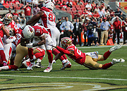 Oct 07, 2018; Santa Clara, CA, USA; Arizona Cardinals running back David Johnson (31) scores on a 2-yard touchdown in a game between the San Francisco 49ers and the Arizona Cardinals at Levi's Stadium. Arizona defeated San Francisco 28-18. (Spencer Allen/Image of Sport)