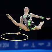 Gymnastic Rhythmic. Final. Laura Halford wins bronze for Wales.  With the Hoop.