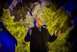 Singer Oto Pestner performs during the Living Nativity Scenes inside Postojna Cave, on December 21, 2017 in Postojna, Slovenia. Living Nativity Scene is staged along a 5 km long path through the world-famous Postojna Cave in Slovenia with some 200 people performing and working. Photo by Vid Ponikvar / Sportida