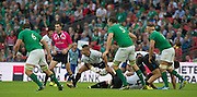 Wembley, Great Britain, Scrum Half, Valentin CALAFETEANU, clears the ball, during the Pool D Game, Ireland vs Romania.  2015 Rugby World Cup, Venue, Wembley Stadium, London, ENGLAND.  Sunday  27/09/2015 <br /> <br /> Mandatory Credit; Peter Spurrier/Intersport-images]