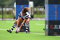 Lucy Attwood of Bristol Bears Women touches down to score a try - Mandatory by-line: Paul Knight/JMP - 02/09/2018 - RUGBY - Shaftsbury Park - Bristol, England - Bristol Bears Women v Dragons Women - Pre-season friendly