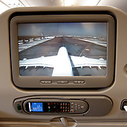 An A380 as seen from the camera located in the tail of the plane and displayed on the enternaiment system. Inside an Airbus A380 of Emirates airways