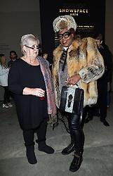 Jenni Murray talks to fashionista Richard Shoyemi at the Ashish show at London Fashion Week ,Monday, 17th February 2014. Picture by Stephen Lock / i-Images