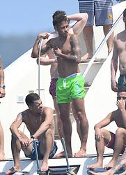 New PSG player Neymar (C) is seen having fun with his friends (Cristian Guedes, Pedro Velasco, Gil Cebola, Gustavo Almeida, Leo Venditto, Jo Amancio , Neymar, Diogo D'Oliveira Mussi Fialho, Alvaro Costa, Joao Celso Moraes, Luiz Amaral), in Saint Tropez, France, on August 7, 2017. Photo by ABACAPRESS.COM