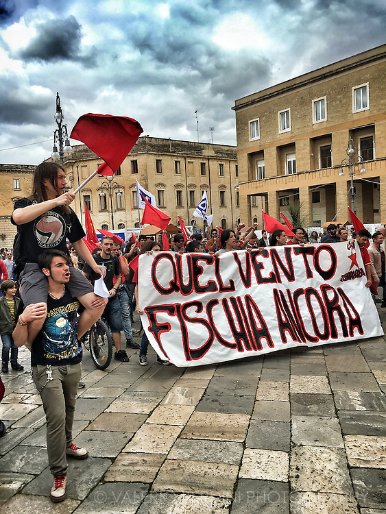A demo in the city of Lecce, in Apulia, a region of south Italy. 25th of April is a festivity day to celebrate the victory of the Italian resistance over the Nazi and the Fascist regime in 1945 at the end of WWII. Every year there are events, marches, rallies and politicians' speeches.