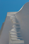 White steps leading to a blue sky in Sifnos, The Cyclades, Greek Islands, Greece, Europe