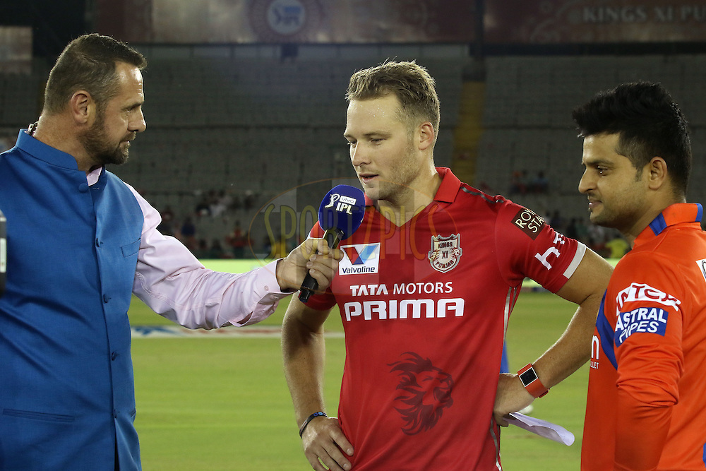 Commentator Simon Doull interviews Kings XI Punjab captain David Miller and Gujarat Lions captain Suresh Raina after the toss during match 3 of the Vivo Indian Premier League (IPL) 2016 between the Kings XI Punjab and the Gujarat Lions held at the IS Bindra Stadium, Mohali, India on the 11th April 2016<br /> <br /> Photo by Shaun Roy/ IPL/ SPORTZPICS