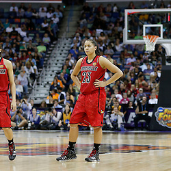 April 7, 2013; New Orleans, LA, USA; Louisville Cardinals guard Jude Schimmel (22) and guard Shoni Schimmel (23) look on against the California Golden Bears during the second half in the semifinals during the 2013 NCAA womens Final Four at the New Orleans Arena. Mandatory Credit: Derick E. Hingle-USA TODAY Sports
