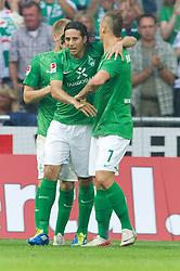 25.09.2011, Weser Stadion, Bremen, GER, 1.FBL, Werder Bremen vs Hertha BSC, im Bild.1:1 Ausgleich Jubel Claudio Pizarro (Bremen #24) Aaron Hunt (Bremen #14) und Denni Avdic (Bremen #9).// during the Match GER, 1.FBL, Werder Bremen vs Hertha BSC on 2011/09/25,  Weser Stadion, Bremen, Germany..EXPA Pictures © 2011, PhotoCredit: EXPA/ nph/  Gumz       ****** out of GER / CRO  / BEL ******