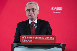 London, UK. 19 November, 2019. Shadow Chancellor John McDonnell makes a major speech on the economy in Westminster. His speech promised that a Labour government would rewrite the rules of the economy through reforms to business regulation that would lay some of the foundations of a stakeholder economy and help workers to take back control.