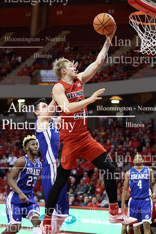 21 February 2018:  Isaac Gassman during a College mens basketball game between the Drake Bulldogs and Illinois State Redbirds in Redbird Arena, Normal IL
