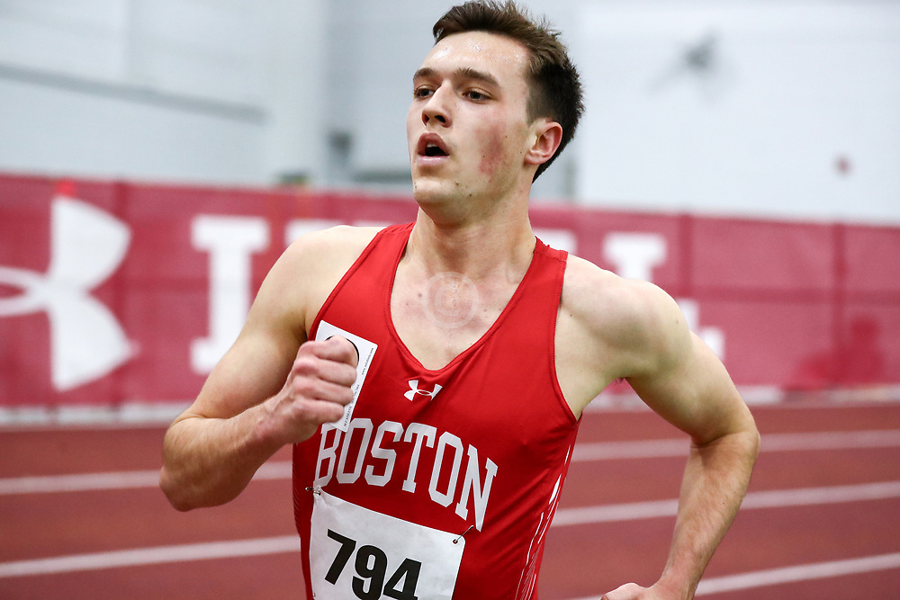 mens 3000 meters, BU, Grandizio, Joe<br /> Boston University Scarlet and White<br /> Indoor Track & Field, Bruce LeHane