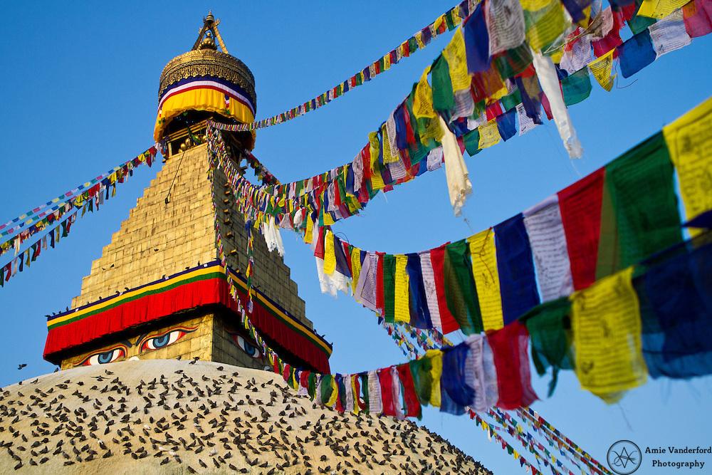 The Buddhist stupa of Boudhanath in Kathmandu, Nepal.
