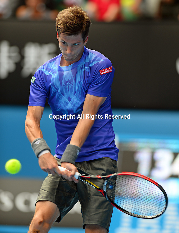 Aljaz Bedene (SLO) goes out in the 1st round of play<br /> 2015 Australian Open Tennis / Day 2<br /> Grand Slam of Asia Pacific<br /> Melbourne Park, Vic Australia<br /> Tuesday 20 January 2015<br /> &copy; Sport the library / Jeff Crow