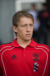 ZUG, SWITZERLAND - Wednesday, July 21, 2010: Liverpool's Lucas Leiva before the Reds' first preseason match of the 2010/2011 season against Grasshopper Club Zurich at the Herti Stadium. (Pic by David Rawcliffe/Propaganda)