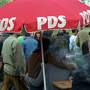 PDS political party (democratic socialist party)during one of their outdoor party. Berlin, Germany.