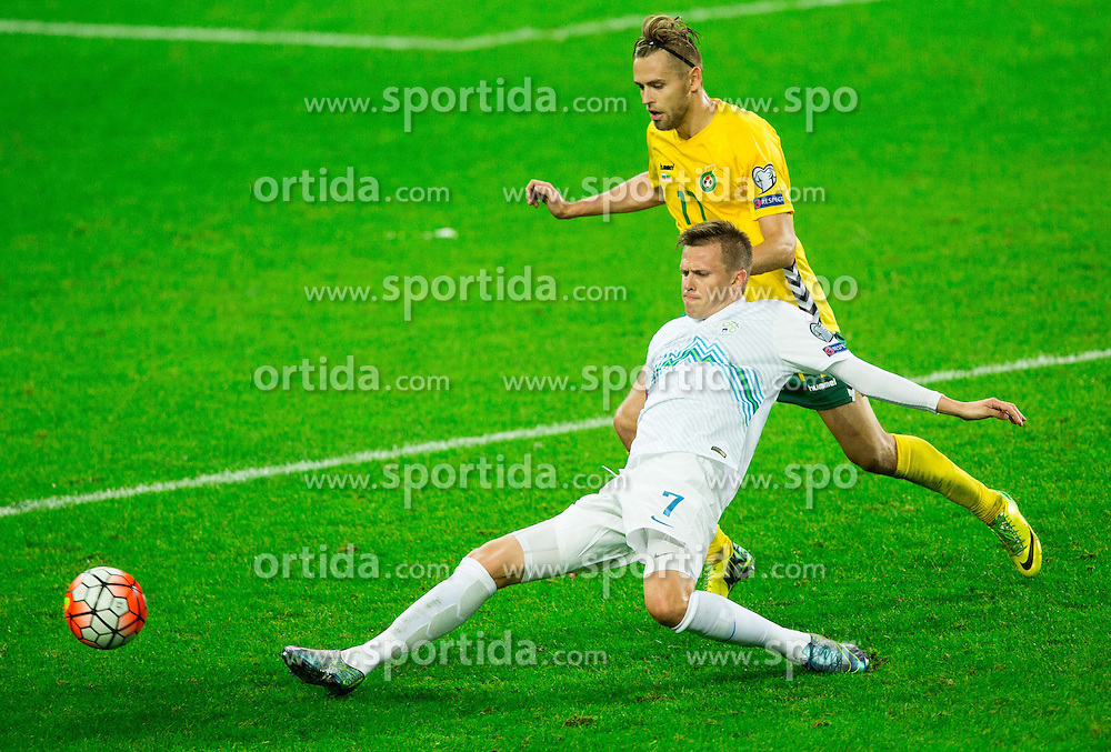 Josip Ilicic of Slovenia vs Arturas Zulpa of Lithuania during the EURO 2016 Qualifier Group E match between Slovenia and Lithuania, on October 9, 2015 in SRC Stozice, Ljubljana Slovenia. Photo by Vid Ponikvar / Sportida