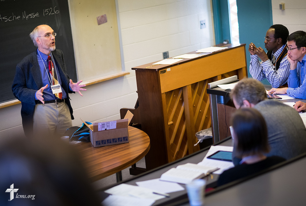 """Dr. Joseph Herl teaches international attendees at the """"Fresh Hymns of Thankful Praise"""" symposium at Concordia Theological Seminary in Fort Wayne, Ind."""