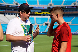 CHARLOTTE, USA - Saturday, July 21, 2018: Liverpool's Ben Woodburn is interviewed by John Gibbons of the Anfield Wrap after a training session at the Bank of America Stadium ahead of a preseason International Champions Cup match between Borussia Dortmund and Liverpool FC. (Pic by David Rawcliffe/Propaganda)