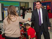 Houston ISD Superintendent Dr. Terry Grier talks with a teacher during the first day of school at Shearn Elementary School, August 25, 2014.
