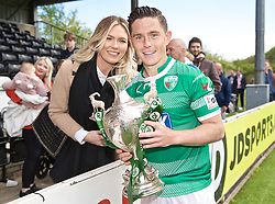 RHOSYMEDRE, WALES - Sunday, May 5, 2019: The New Saints' Danny Redmond with his partner and the trophy after the FAW JD Welsh Cup Final between Connah's Quay Nomads FC and The New Saints FC at The Rock. The New Saints won 3-0. (Pic by David Rawcliffe/Propaganda)