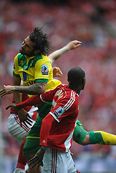 Norwich Bradley Johnson, attacks Middlesbrough Defence, Middlesbrough v Norwich, Sky Bet Championship, Play Off Final, Wembley Stadium, Monday  25th May 2015