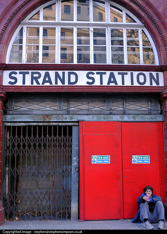 © Licensed to London News Pictures. 02/12/2012. London, UK The UERL Tube stations of 1906/07 all followed the same basic design. Aldwych was originally called Strand and the original signage was preserved. London Transport Museum held tours, today 2nd December 2012, of Aldwych Tube Station, one of London's closed underground stations. Visitors were give a rare chance to glimpse what happens to a station after the public leave. The tour included a platform closed in 1914 which was used as a store for the National Gallery during the 2nd World War, amongst items stored were the Elgin Marbles. The station was used by 1000's of Londoners during the blitz as an air raid shelter. The station is often used for filming with films such as Atonement, V for Vendetta, Superman 4 and 28 weeks later. Photo credit : Stephen Simpson/LNP