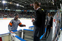 KELOWNA, CANADA - DECEMBER 3: Jason Smith, head coach of the Kelowna Rockets stands at the boards and speaks to referee Reid Anderson against the Brandon Wheat Kings on December 3, 2016 at Prospera Place in Kelowna, British Columbia, Canada.  (Photo by Marissa Baecker/Shoot the Breeze)  *** Local Caption ***