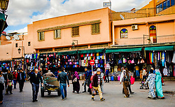 General scene of Jemaa El Fna, a Unesco World Heritage Site, in Marrakech, Morocco, North Africa<br /> <br /> (c) Andrew Wilson   Edinburgh Elite media