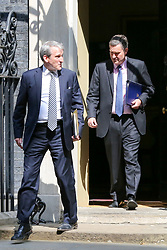 April 30, 2019 - London, UK, UK - London, UK. Damian Hinds - Secretary of State for Education (L) and David Gauke - Justice Secretary (R) departs from No 10 Downing Street after attending the weekly Cabinet meeting. (Credit Image: © Dinendra Haria/London News Pictures via ZUMA Wire)