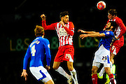 Accrington Stanley's Matt Crooks, Portsmouth's Danny Hollands and Accrington Stanley's Tom Davies during the The FA Cup match between Portsmouth and Accrington Stanley at Fratton Park, Portsmouth, England on 5 December 2015. Photo by Graham Hunt.