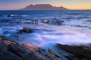 Bloubergstrand.with Table Mountain and.Cape Town.South Africa